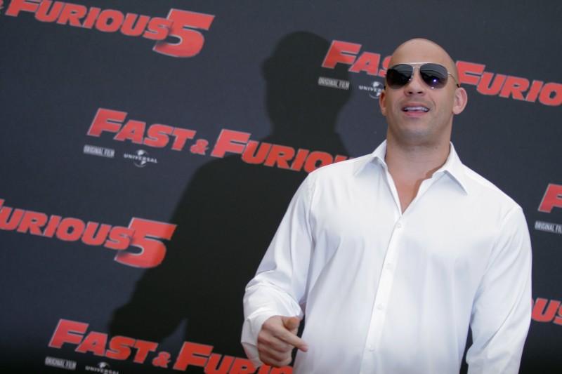 La star Vin Diesel a Roma, durante il photocall  di Fast & Furious 5