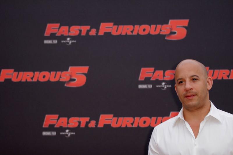 Vin Diesel durante il photocall di Fast & Furious 5 a Roma, il 29 aprile 2011