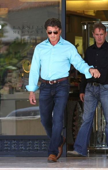 Sylvester Stallone con un amico al Barneys New York in Beverly Hills