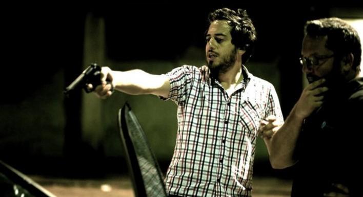 Il regista Giuseppe Gagliardi sul set del film Tatanka