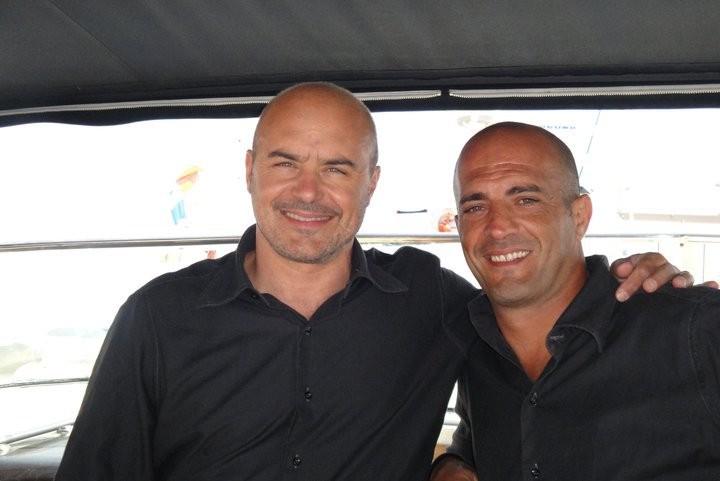 Luca Zingaretti e lo stuntman Mauro Aversano sul set di Montalbano.