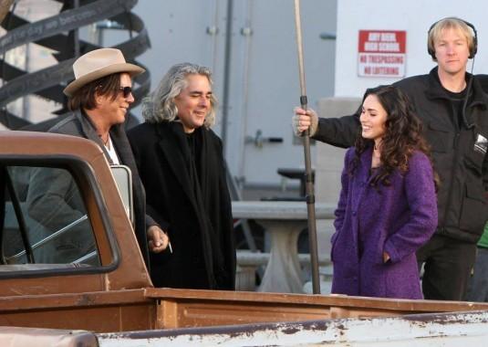 Mickey Rourke e Megan Fox sul set del film Passion Play con il regista Mitch Glazer