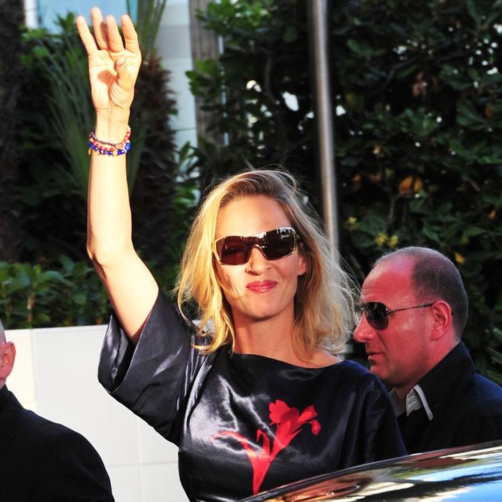 Festival di Cannes 2011: la giurata Uma Thurman al suo arrivo sulla Croisette