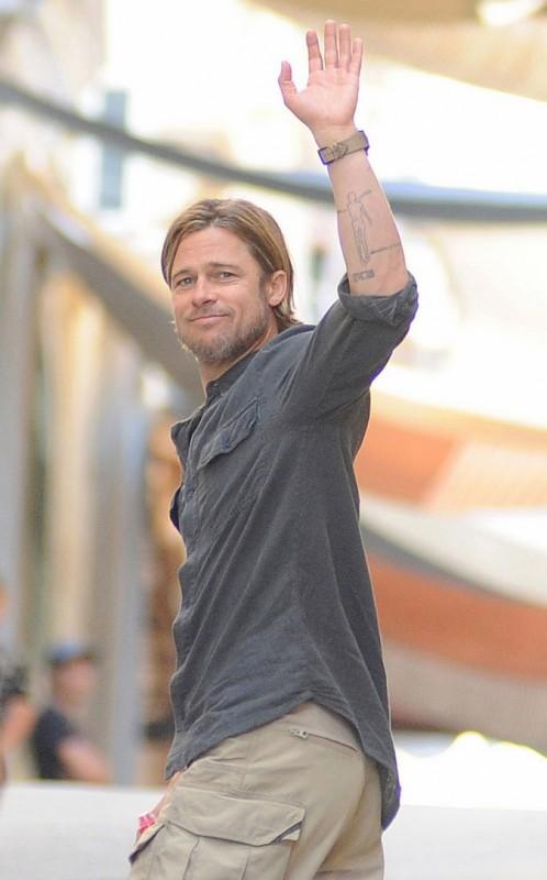 Brad Pitt sul set di World War Z, a Malta