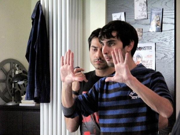 Il regista Gabriele Albanesi sul set di Ubaldo Terzani Horror Show con Giuseppe Soleri
