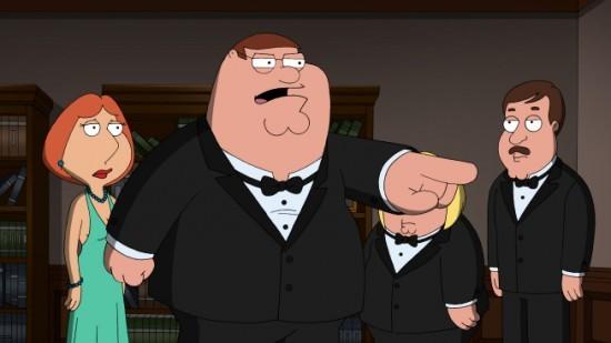 Peter, Lois e Tom Tucker in una scena dell'episodio And Then There Were Fewer della serie I Griffin