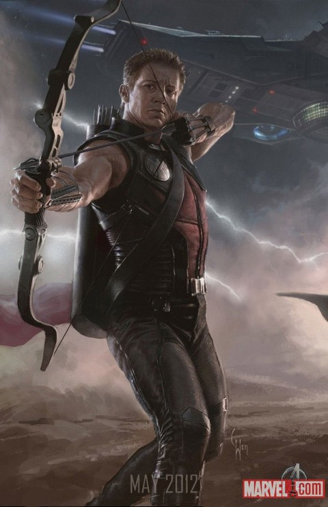 Poster illustrato di Jeremy Renner, alias Hawkeye, in The Avengers - I vendicatori