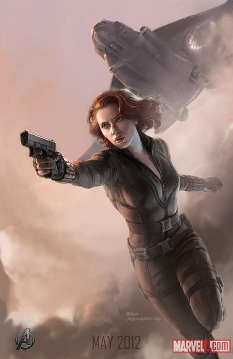 Poster illustrato di Scarlett Johansson, alias Black Widow, in The Avengers - I vendicatori