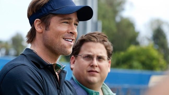 Brad Pitt e Jonah Hill in una scena di Moneyball