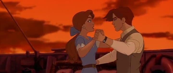 Una scena del film d'animazione Anastasia con i due protagonisti