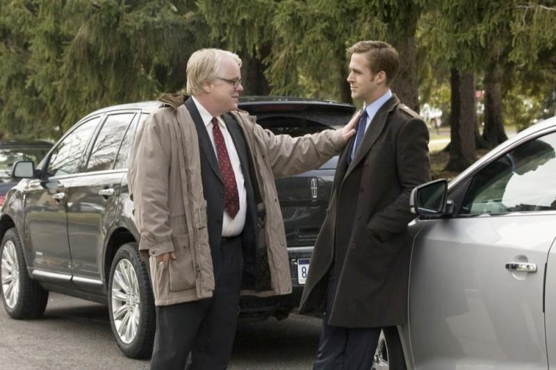 Le idi di marzo: Ryan Gosling e Philip Seymour Hoffman in una scena