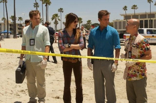Michael C. Hall, Jennifer Carpenter, Desmond Harrington e C.S. Lee in Those Kinds of Things, première della sesta stagione di Dexter