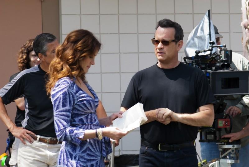 Julia Roberts e Tom Hanks sul set del film Larry Crowne