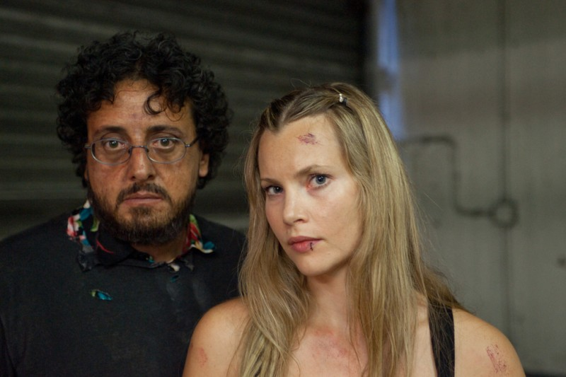 Massimo De Lorenzo e Harriet MacMasters-Green sul set di Parking Lot 3D
