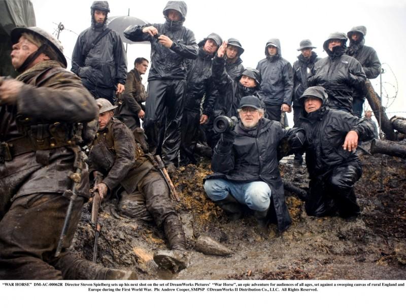 Steven Spielberg sul set del suo avventuroso War Horse