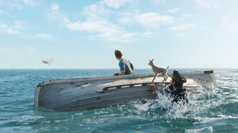 I naufraghi protagonisti di Le Avventure di Tintin: il segreto dell'Unicorno intravedono la salvezza
