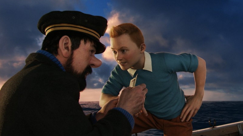 Le Avventure di Tintin: il Segreto dell'Unicorno, Tintin e il capitano Haddock in mare aperto in una scena del film