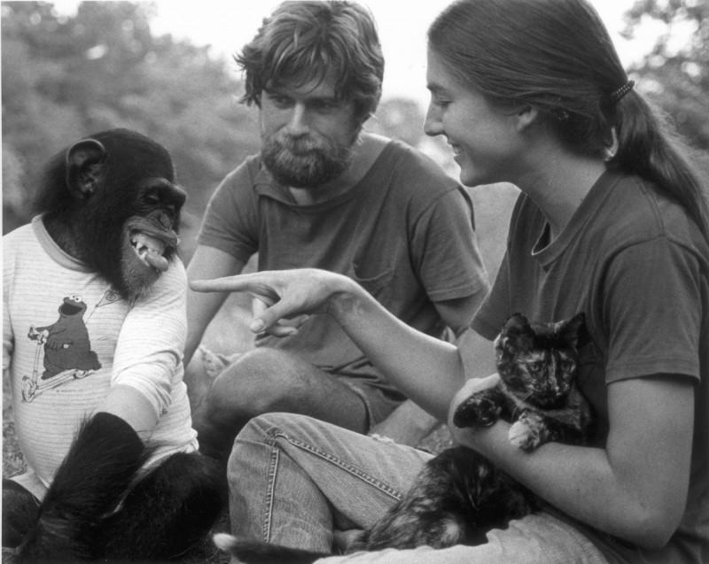 Project Nim: un'immagine in bianco e nero di Nim e della sua famiglia