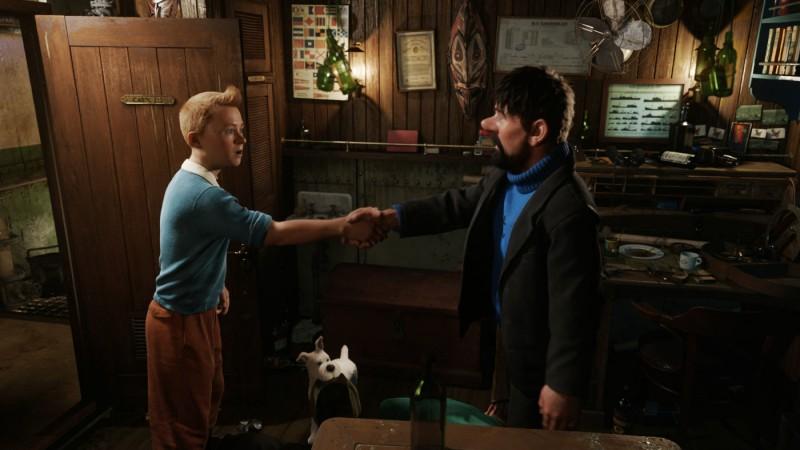 Tintin e capitan Haddock in una scena di Le Avventure di Tintin: il Segreto dell'Unicorno