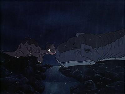 Una commovente scena del film d'animazione Alla ricerca della valle incantata