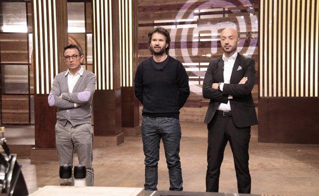 Bruno Barbieri, Carlo Cracco e Joe Bastianich, giudici della prima edizione di Masterchef Italia
