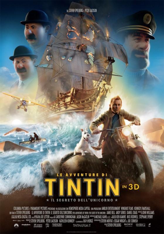 Le avventure di Tintin: il segreto dell'unicorno, una locandina italiana