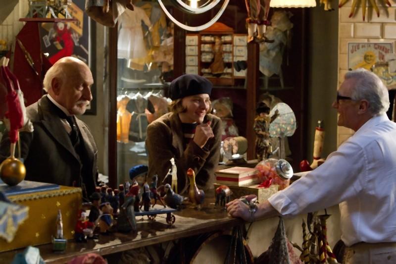 Martin Scorsese sul set di Hugo con Ben Kingsley e Chloe Moretz