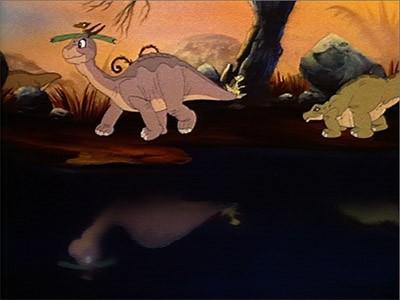 Piedino in una scena del film d'animazione Alla ricerca della valle incantata