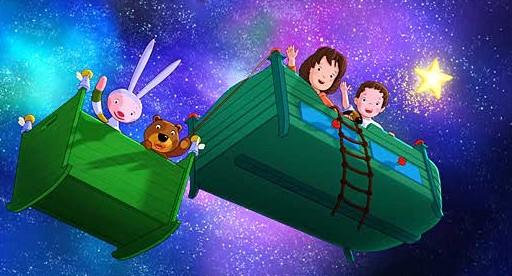 Lauras Stern und die Traummonster: Laura vola nel cielo notturno a bordo di un letto...