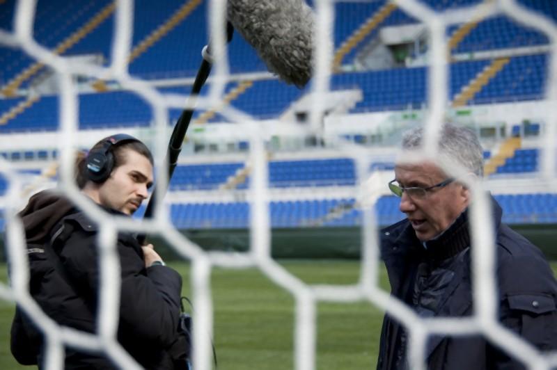 Franco Tancredi sul set del documentario 11 metri, dedicato ad Agostino Di Bartolomei