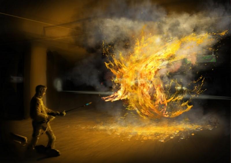 Il concept art che raffigura il lanciafiamme nel thriller fantascientifico L'ora nera