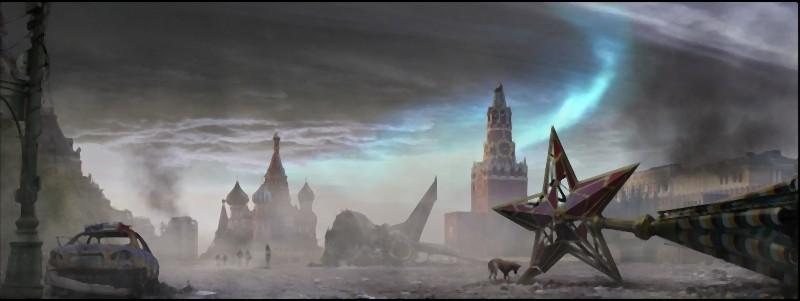 La Piazza Rossa raffigurata in un suggestivo concept art del film L'ora nera 3D
