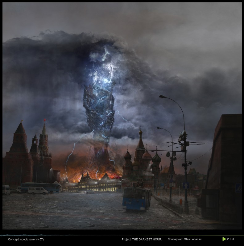 La torre aliena raffigurata in uno dei concept art del film L'ora nera
