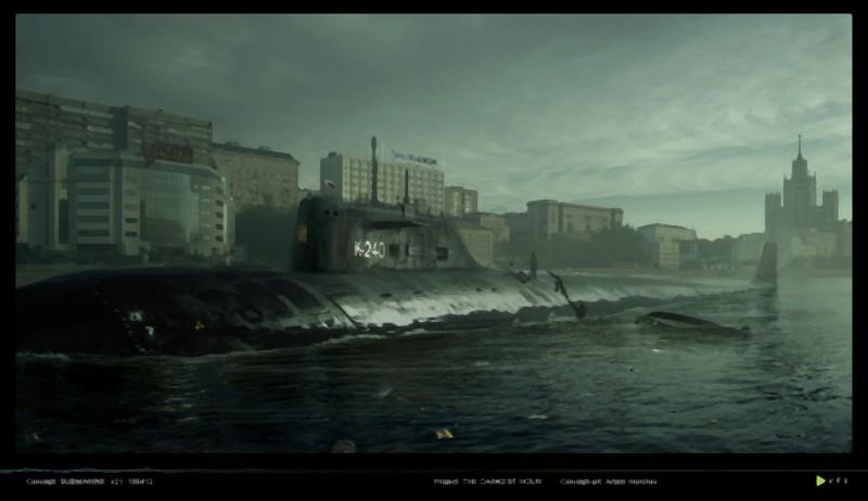 Il concept art dello sbarco del sottomarino nella Mosca sotto attacco ne L'ora nera 3D