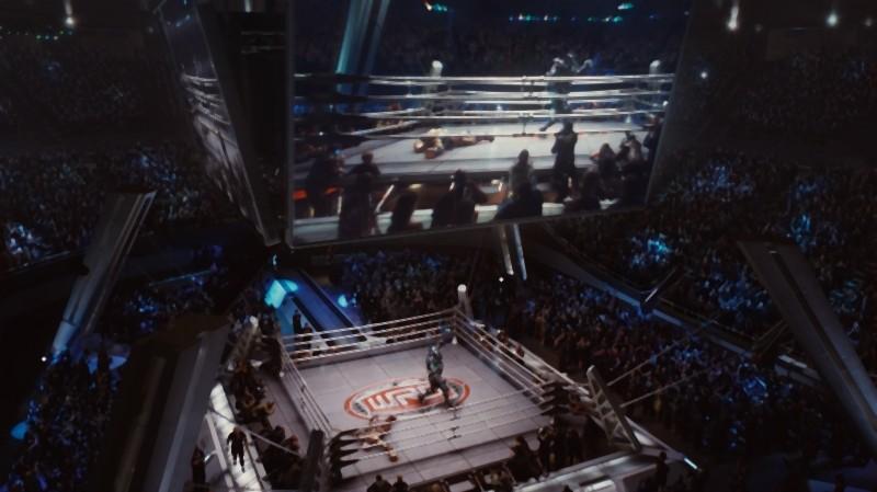 Real Steel: una ripresa dall'altro del ring tratta dal film