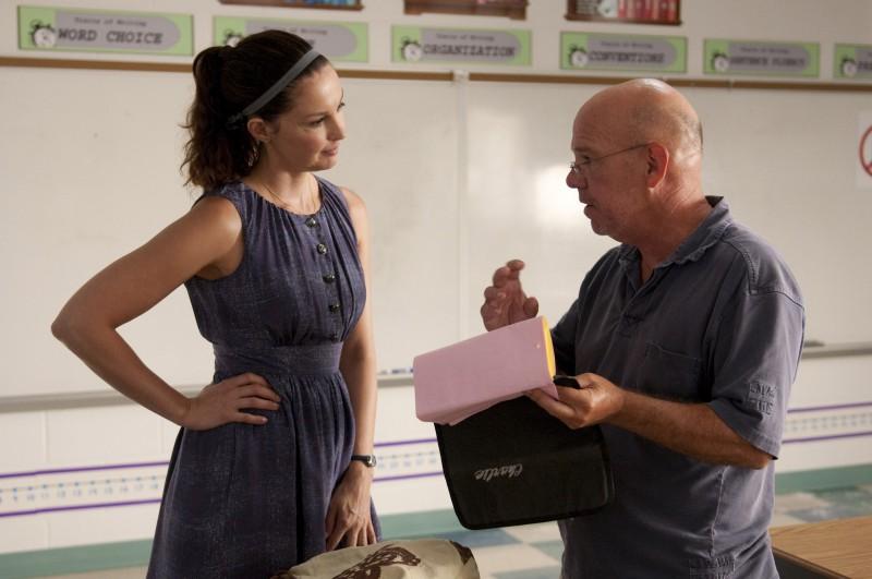 Ashley Judd sul set de L'incredibile storia di Winter il delfino insieme al regista Charles Martin Smith