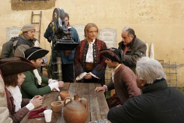 Il set del film La meravigliosa avventura di Antonio Franconi, Massimo Ranieri e Luca Verdone si preparano al ciak
