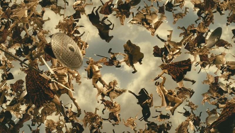Immortals 3D: soldati e cavalli in aria in una scena del fil