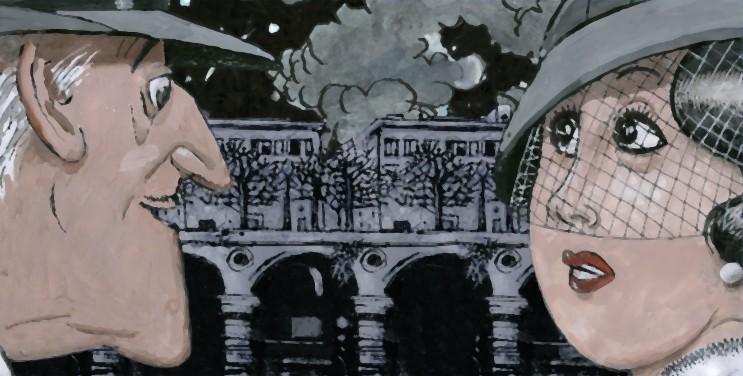Tormenti - Film disegnato, una bellissima scena del film disegnata da Furio Scarpelli