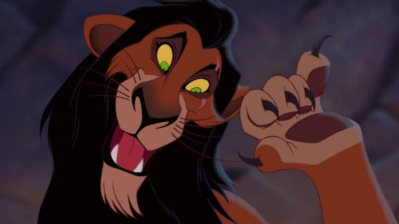 Il leone Scar in una scena del film Il re leone 3D