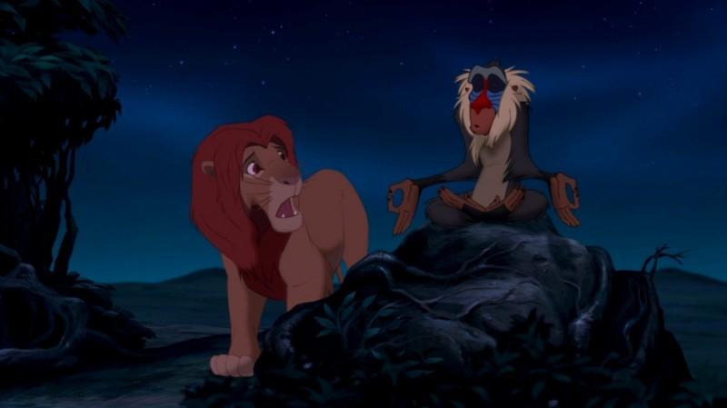 Rafiki e Simba in una scena notturna tratta dal film di animazione Il re leone 3D