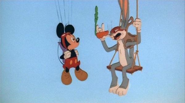 Chi ha incastrato Roger Rabbit?: Topolino e Bugs Bunny in una scena del film