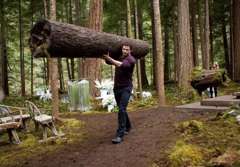 The Twilight Saga: Breaking Dawn - Parte 1, Kellan Lutz aiuta a spostare un tronco dalla location del matrimonio in una scena del film