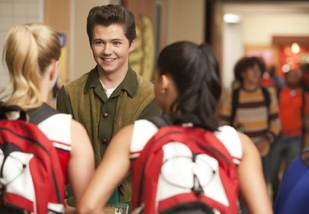 Glee: Damian McGinty, Heather Morris e Naya Rivera in una scena dell'episodio Pot O' Gold