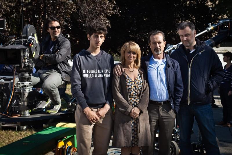 Rocco Papaleo e Luciana Littizzetto insieme a Pietro Castellitto e al regista Lucio Pellegrini sul set di E' nata una star?