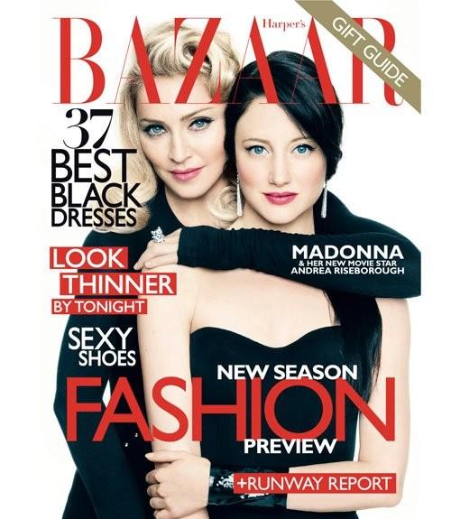 Madonna con Andrea Risebourough sulla cover di Harper's Bazaar (nov. 2011) per l'uscita di Edward e Wallis