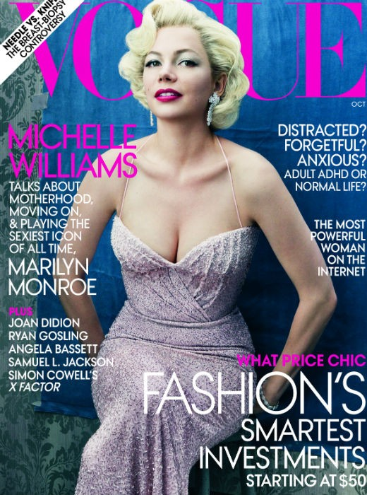 Michelle Williams in cover su Vogue per promuovere 'My Week With Marilyn'.