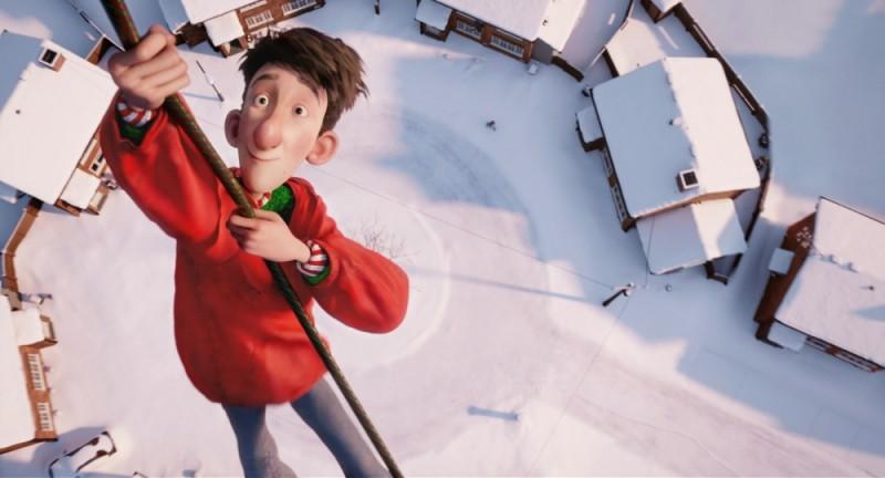 Arthur Christmas: Il figlio di Babbo Natale in 3D, il piccolo Arthur con una corda va verso il cielo