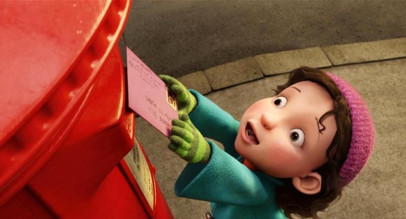 Una bambina spedisce la sua letterina a Babbo Natale in un'immagine di Arthur Christmas: Il figlio di Babbo Natale in 3D