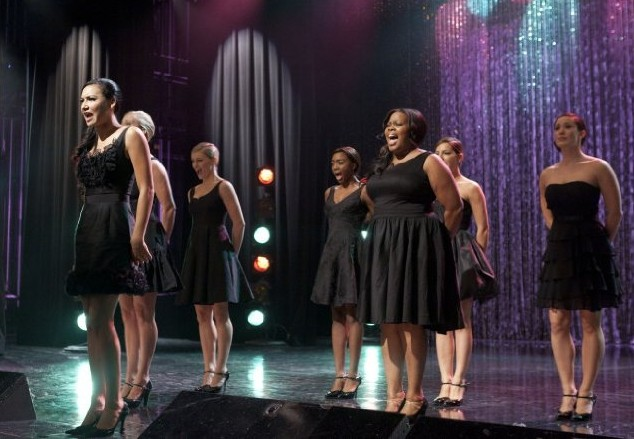 Glee: le Trobletones in una scena dell'episodio Mash Off